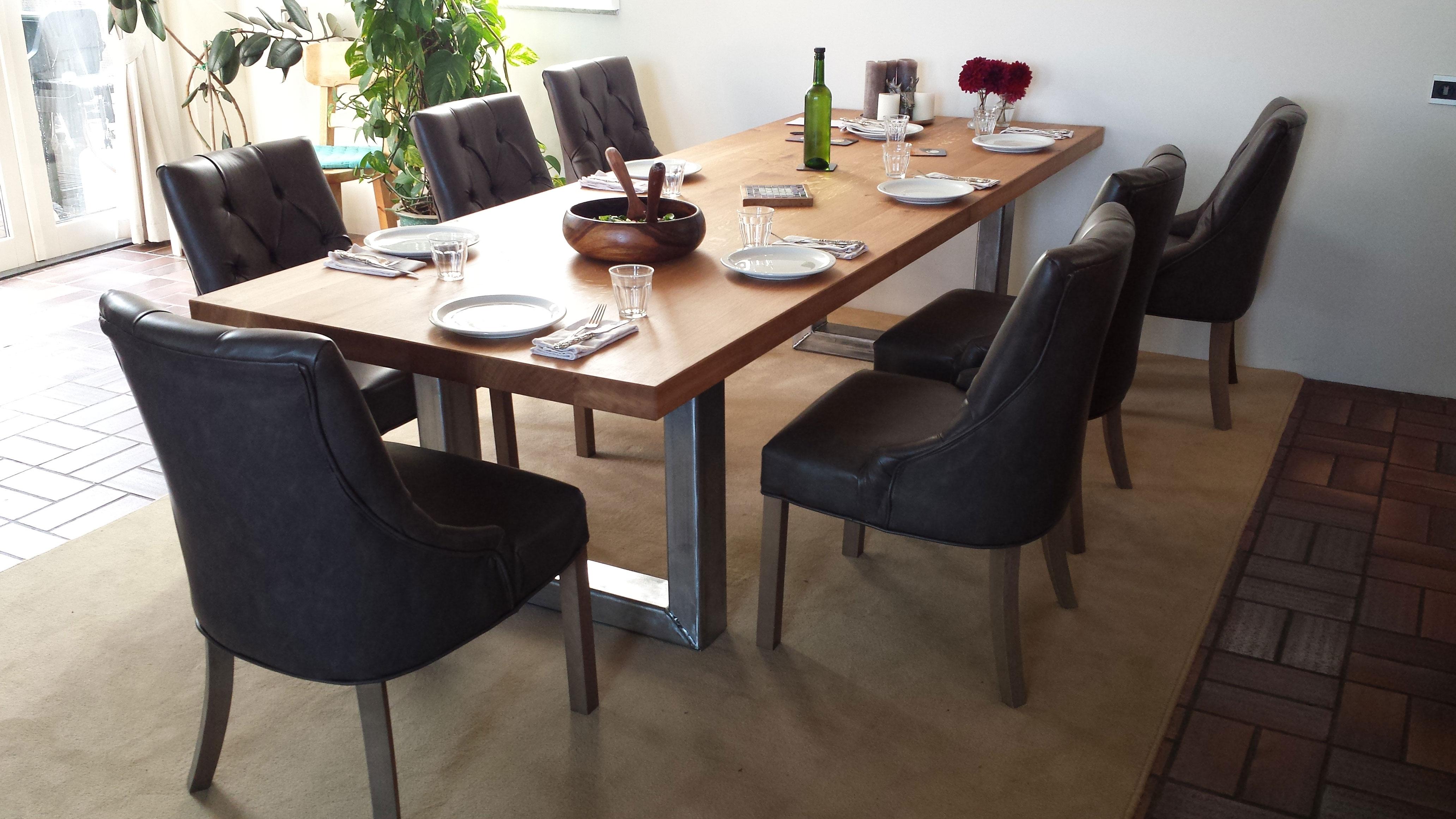 Keuken Design Enkhuizen : Eiken eettafel met stalen onderstel – Hout en Meubeldesign Enkhuizen